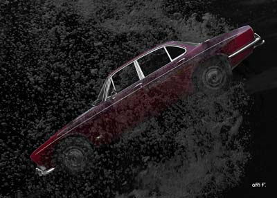 Jaguar XJ Serie 1 in deep water Poster