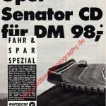 Opel Senator CD für DM 98,- Fahr & Spar Spezial europcar Autovermietung Werbung in DER SPIEGEL 17/1988