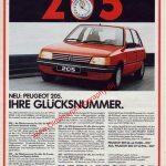 Peugeot 205 Ihre Glücksnummer Annonce Reklame in ADAC motorwelt 10/1983