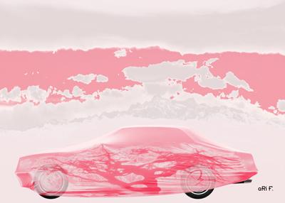 Persenning mit altem Baum und Säntis in pink