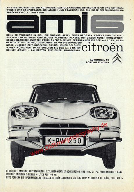 Citroen Ami 6 publicité Annonce Werbung Advertising 60er Jahre