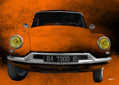 Citroen ID 19 Art Car Poster in orange