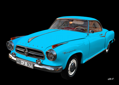 Poster Borgward Isabella Coupé in black & light blue