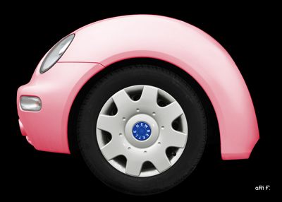 VW New Beetle fender in pink