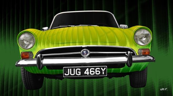 Sunbeam Alpine Art Car in green colors
