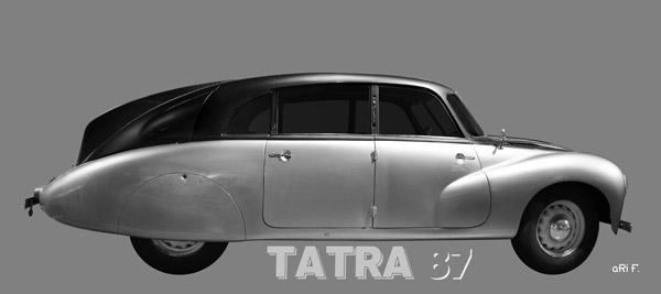Tatra 87 Poster in schwarz-weiss