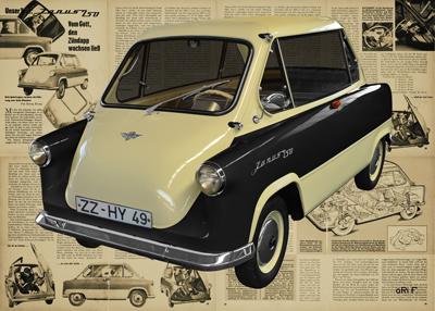 Zündapp Janus 250 Poster in black & beige