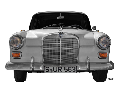 Mercedes-Benz 190 W 110 Heckflosse Poster in Originalfarbe front view