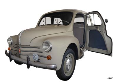 Renault 4CV Cremeschnittchen Poster in Originalfarbe