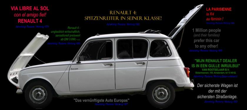 Renault 4 Poster mit Werbeslogans seiner Zeit