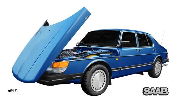 Saab 900 Sedan Poster in blue by aRi F.
