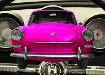 VW 1500 Typ 3 Poster in pink