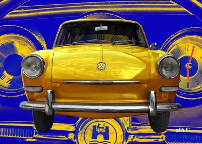VW 1500 Typ 3 Poster in yellow
