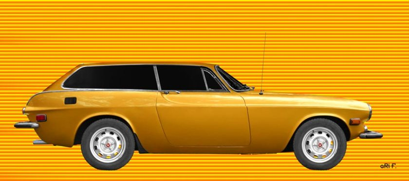 Volvo P1800 ES Poster in yellow mixed