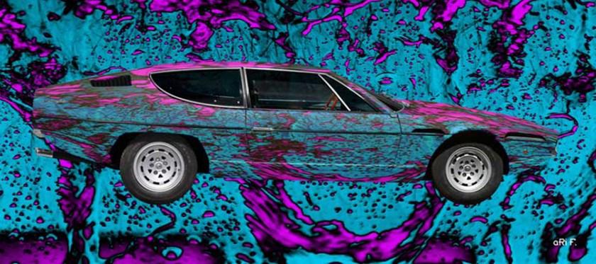 Poster Lamborghini Espada Art Car Poster in blue water pink