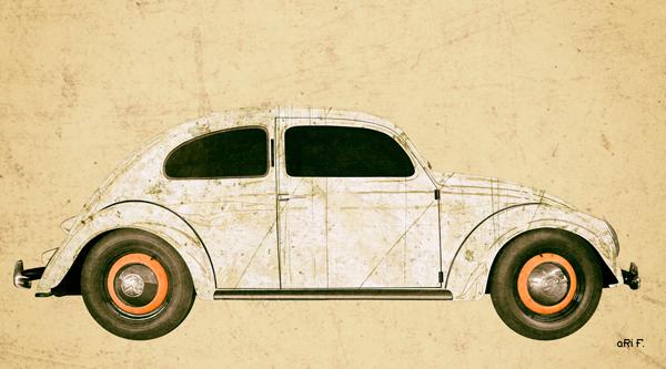 VW Ur-Käfer Poster in antique chamoise