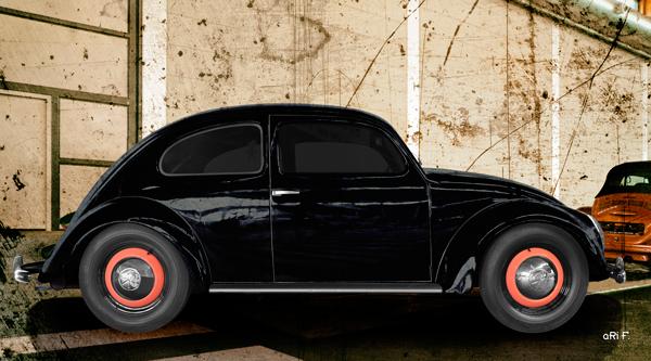 VW Ur-Käfer von 1949 Poster in original black