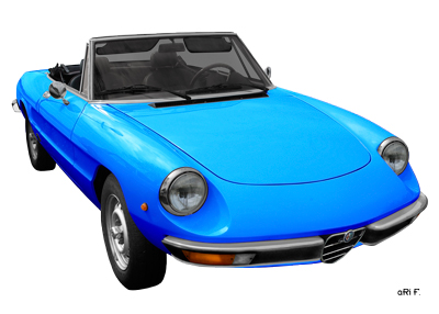 Alfa Romeo Spider Poster in light blue