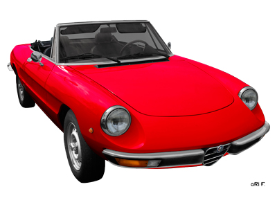 Alfa Romeo Spider Poster in red