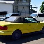 Audi 80 Cabriolet in Farbe Gelb im geschlossenem Zustand