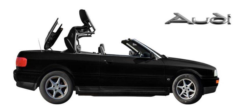 Audi 80 Cabriolet Poster in schwarzweiß