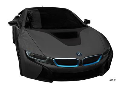 BMW i8 Poster in black