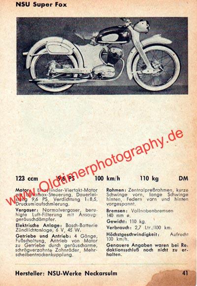 NSU Super Fox 125 technische Daten von 1955