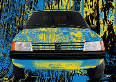 Peugeot 205 Art Car Poster by Ohmyprints.com in green mixed