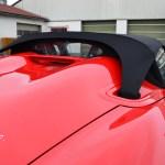 Logo Porsche Boxster Spyder Ansicht auf das Sonnensegel von hinten