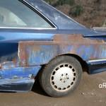 Mercedes-Benz C126 500 SEC AMG V8 Wide-Body Seitenansicht auf angeschweißte Kotflügelverbreiterung