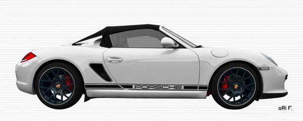 Porsche Boxster Spyder Typ 987 Poster in carraraweiß