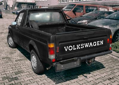 VW Rabbit Caddy 1 Typ 14D Poster in Originalfarbe