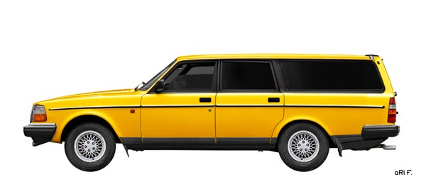 Volvo 245 Station Wagon Poster in yellow