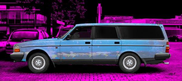Volvo 245 Kombi Art Car Poster in blue & pink