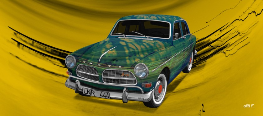 Volvo Amazon Art Car Poster in special green by made by aRi F.