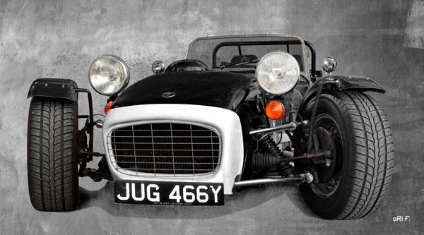 Caterham Super Seven Sprint Poster in black & white