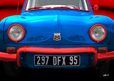 Renault Dauphine Poster in France tricolore-bleu