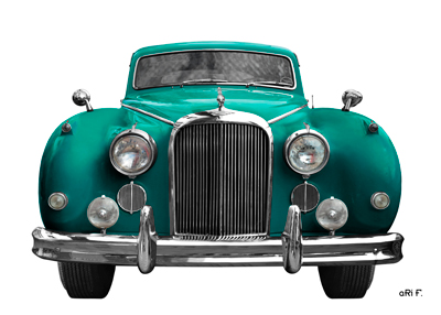 Jaguar Mark IX Poster in Cyan