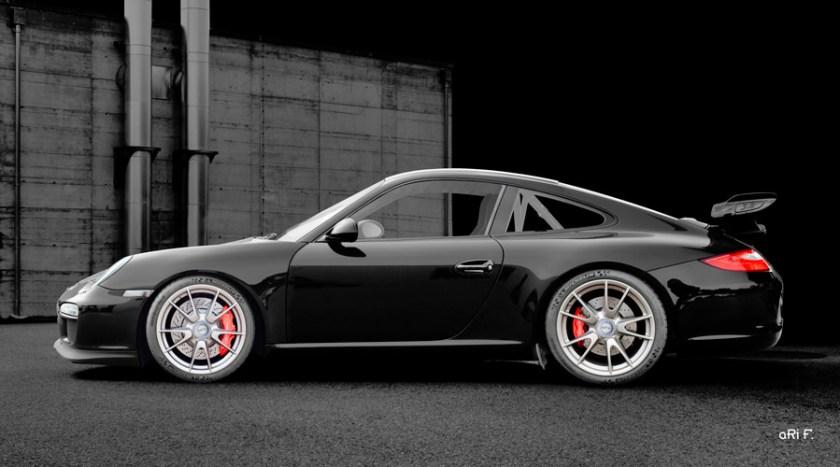 Porsche 911 GT3 Typ 997 Poster in dark black