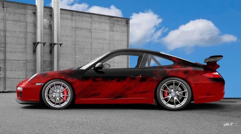 Porsche 911 GT3 Typ 997 Art Car Poster in red-black