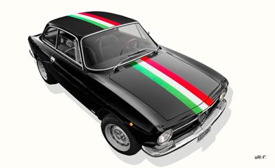 Alfa Romeo GT 1300 Junior Poster mit bandiera italiana