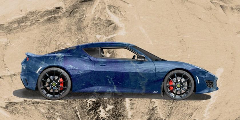 Lotus Evora 400 Art Car Poster in blue