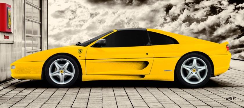 Ferrari F355 GTS F1 Poster in yellow