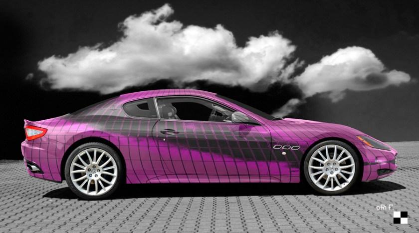 Maserati GranTurismo Art Car Poster in Pink
