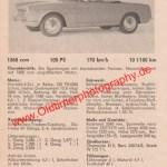 Fiat Sportcabriolet 1600-S technisches Datenblatt 1962 mit überarbeitetem Osca-Motor 1568 ccm und 100 PS