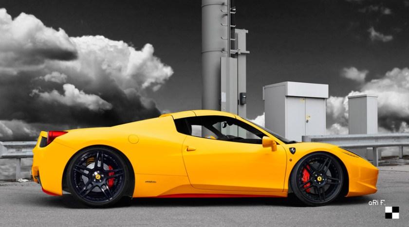 Ferrari F458 Spider Poster in yellow