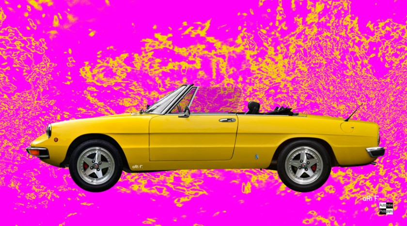 Alfa Romeo Spider Poster in pink & yellow