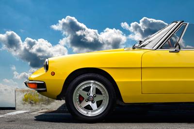 Alfa Romeo Spider Poster in Originalfarbe