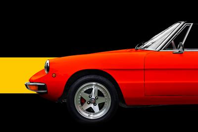 Alfa Romeo Spider Poster in Rosso Italia