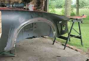 TR7 wheelarch before priming